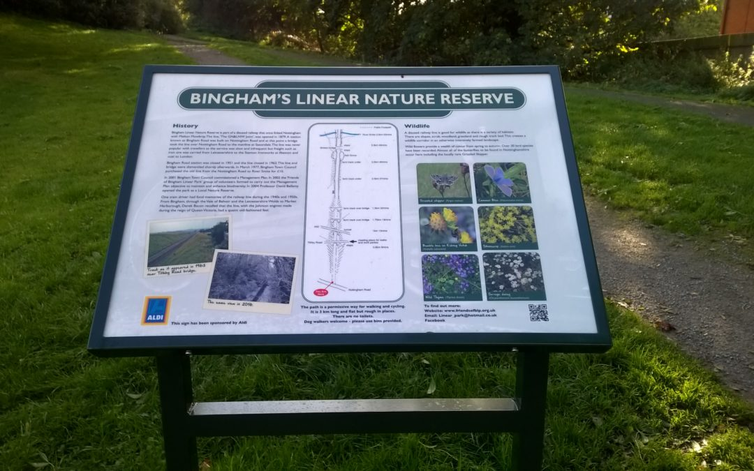 New sign, interpretation board for Bingham linear nature reserve